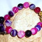 Pink and Purple Agate Brac..