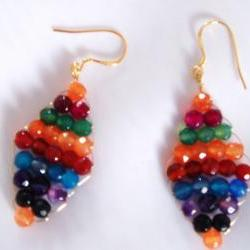 Multi Colour Gemstone Earring Handmade Jewelry