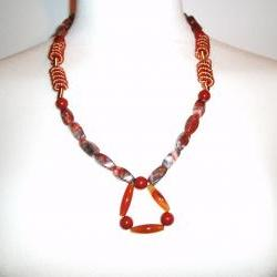 Jasper / Wirework Necklace Handmade Gemstone Jewelry
