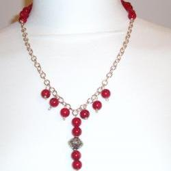 Red Coral 925 Sterling Silver Necklace Handmade Gemstone Jewelry